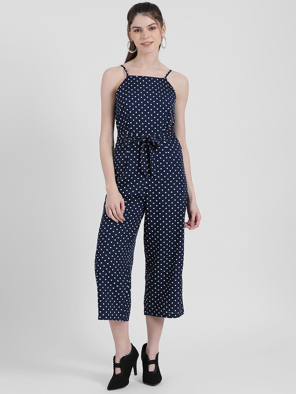 Zink London   Zink London Women's Navy Blue Polka Dotted Basic Jumpsuit