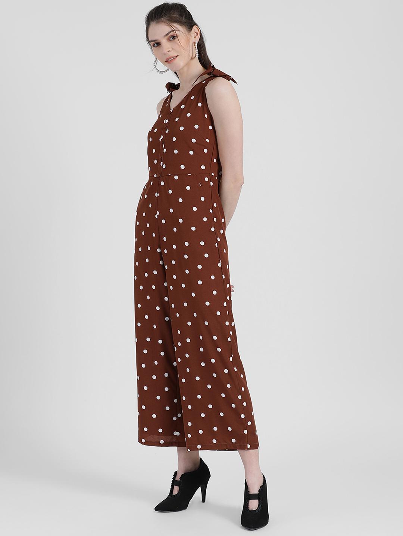 Zink London | Zink London Women's Brown Polka Dotted Regular Jumpsuit