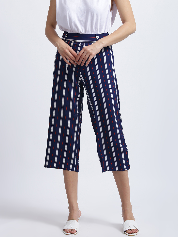 Zink London   Zink London Blue Striped High Waisted Culotte