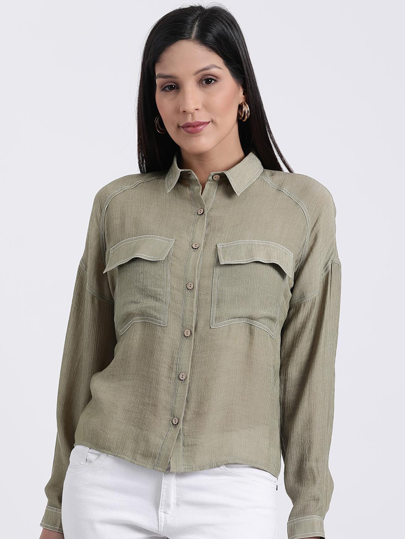 Zink London | Zink London Green Casual Shirts for Women