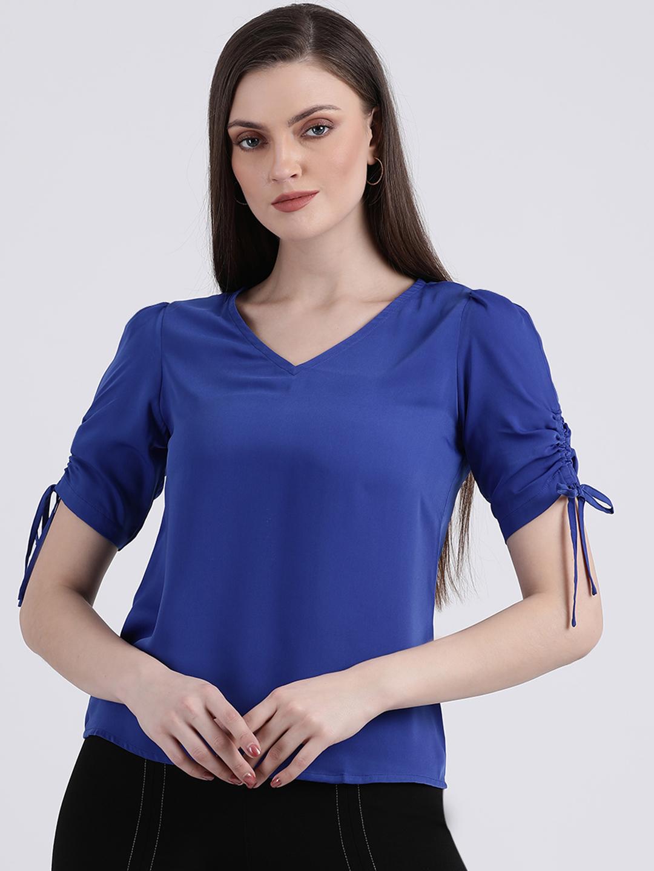 Zink London | Zink London Women's Blue Solid Regular Top