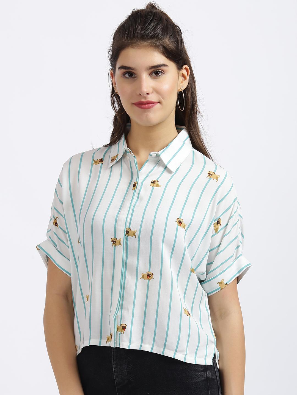 Zink London | Zink London White Striped Cropped Boxy Shirt