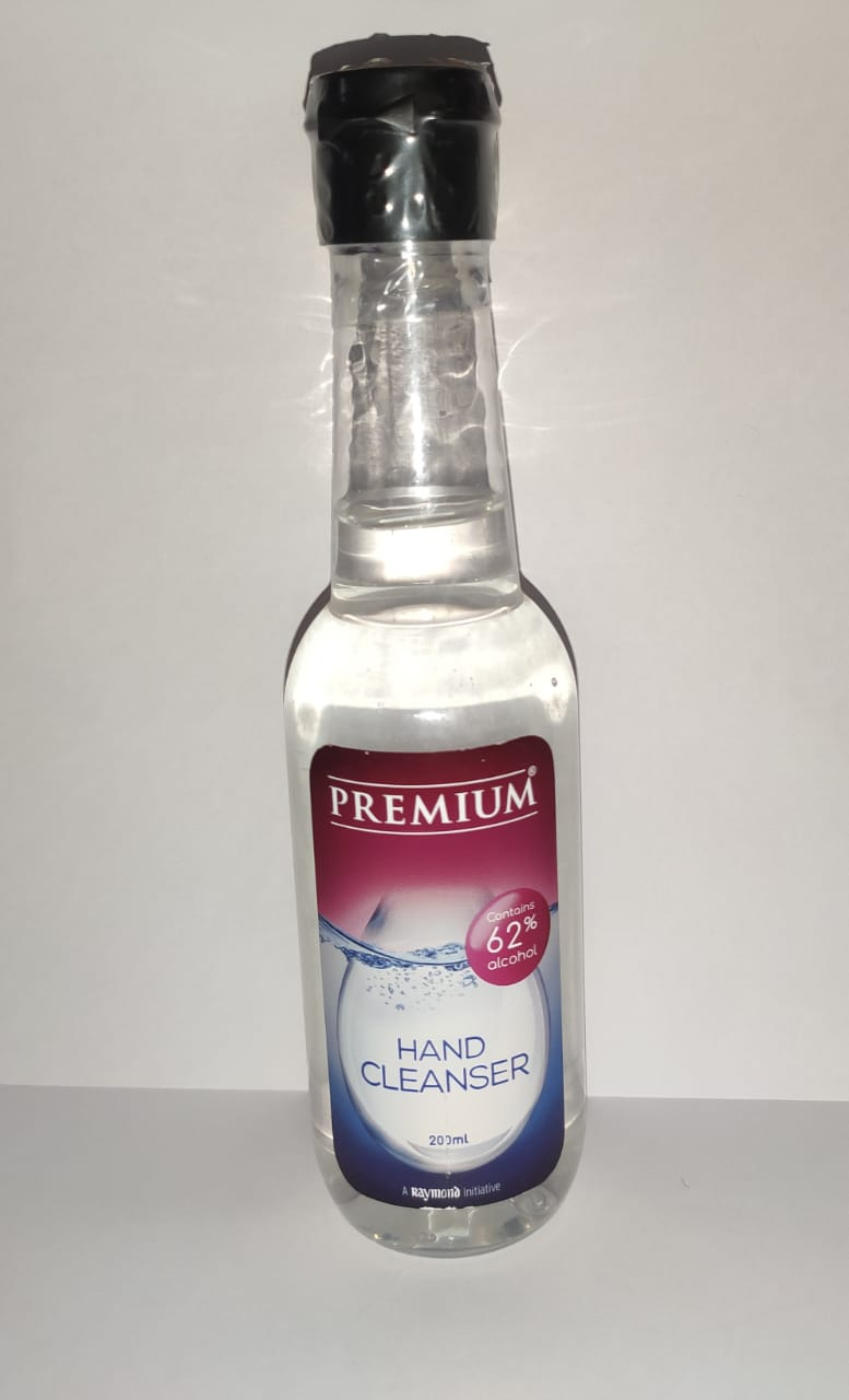 A Raymond Initiative   Raymond Premium Hand Cleanser 62% Alcohol content with Cologne fragrance from the house of Raymond - 200ml