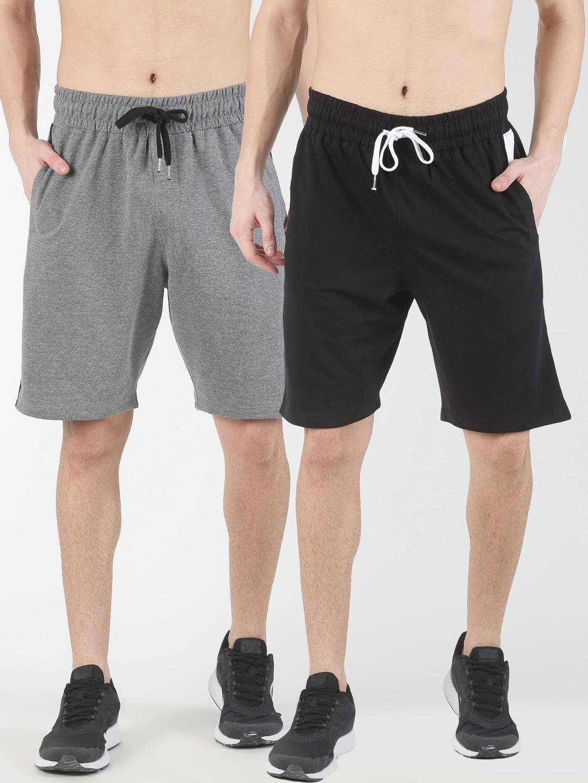 Blue Saint   Blue Saint Men's Solid Black Grey Shorts