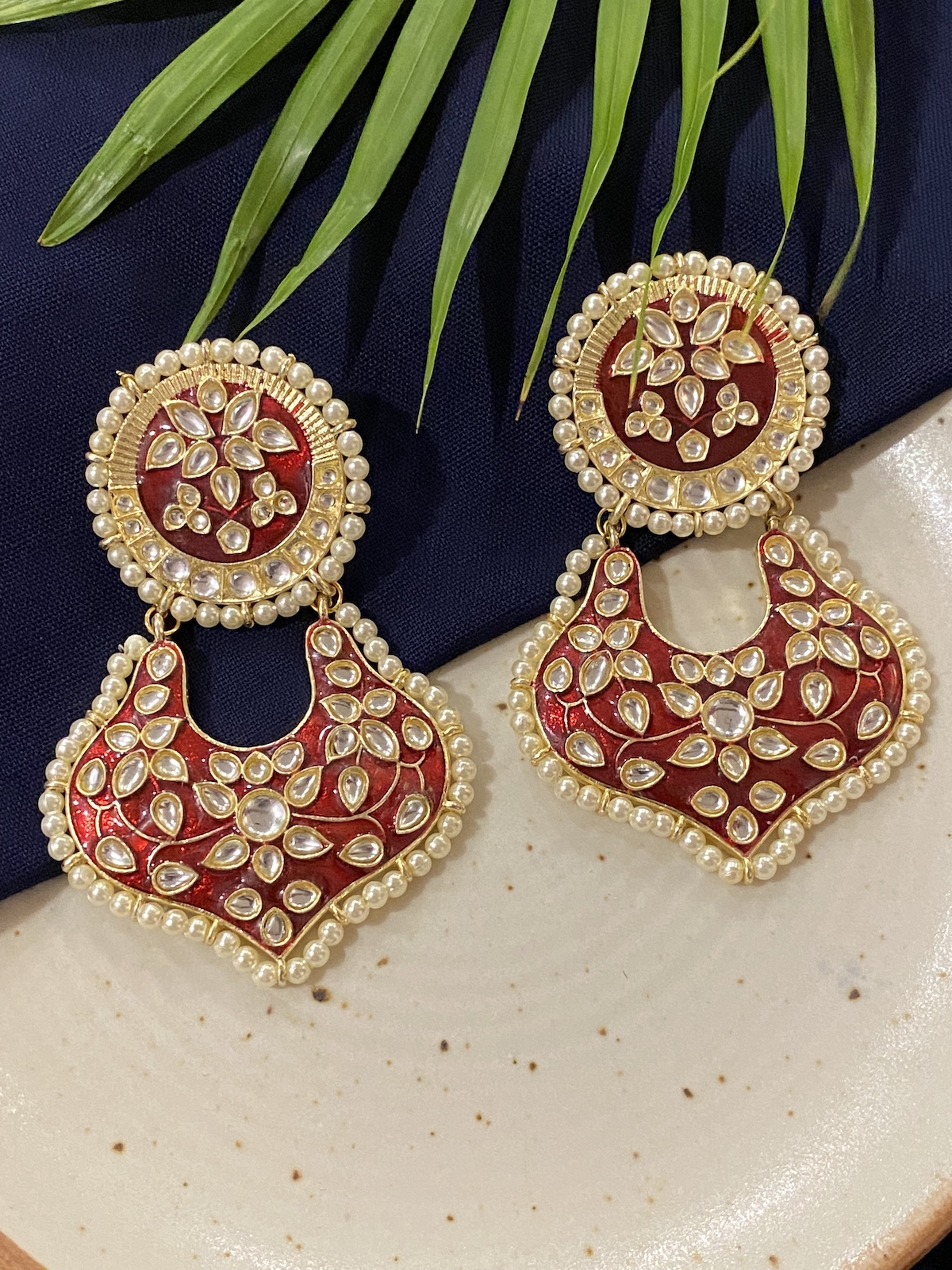 Swabhimann Jwellery | Swabhimann Kaasni Red Meena Chandbalis