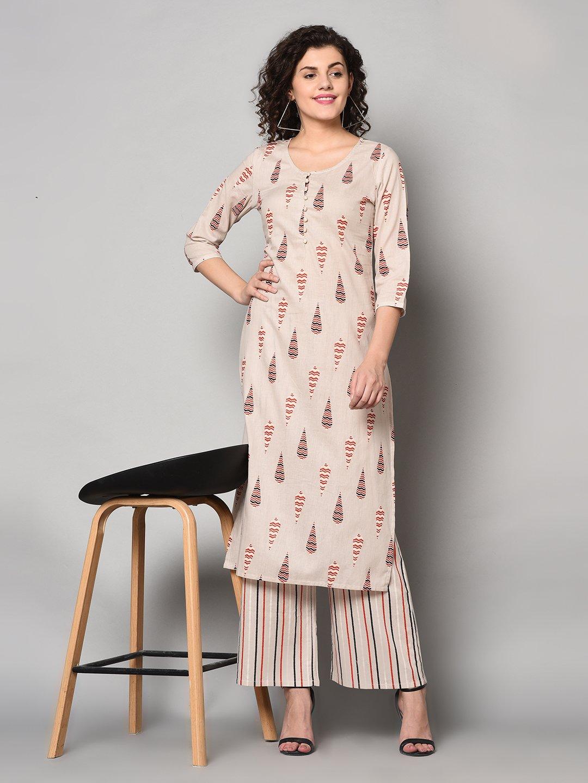 ZNX CLOTHING |  Women Off White & Red Printed Straight Kurta with Palazzo Set