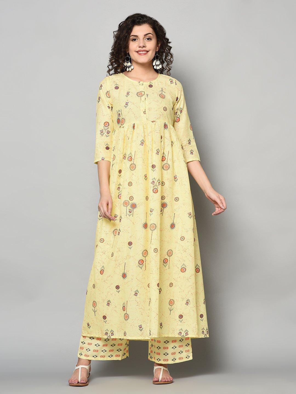 ZNX CLOTHING |  Women Yellow Printed Flared Kurta with Palazzo Set