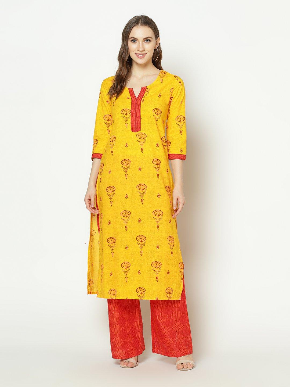 ZNX CLOTHING |  Women Yellow Printed Straight Kurta with Palazzo Set
