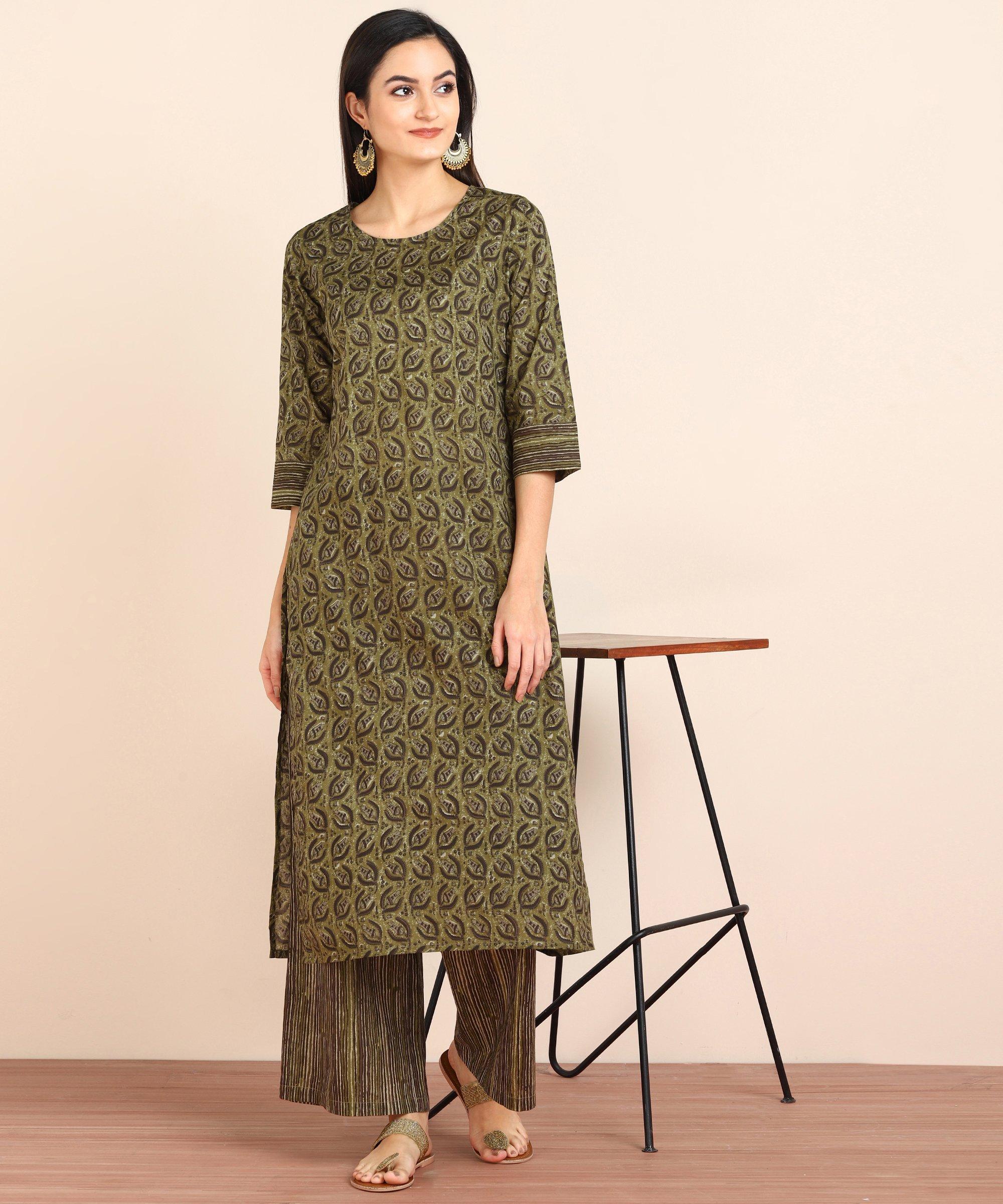 ZNX CLOTHING |  Women Green Printed Straight Kurta with Palazzo Set