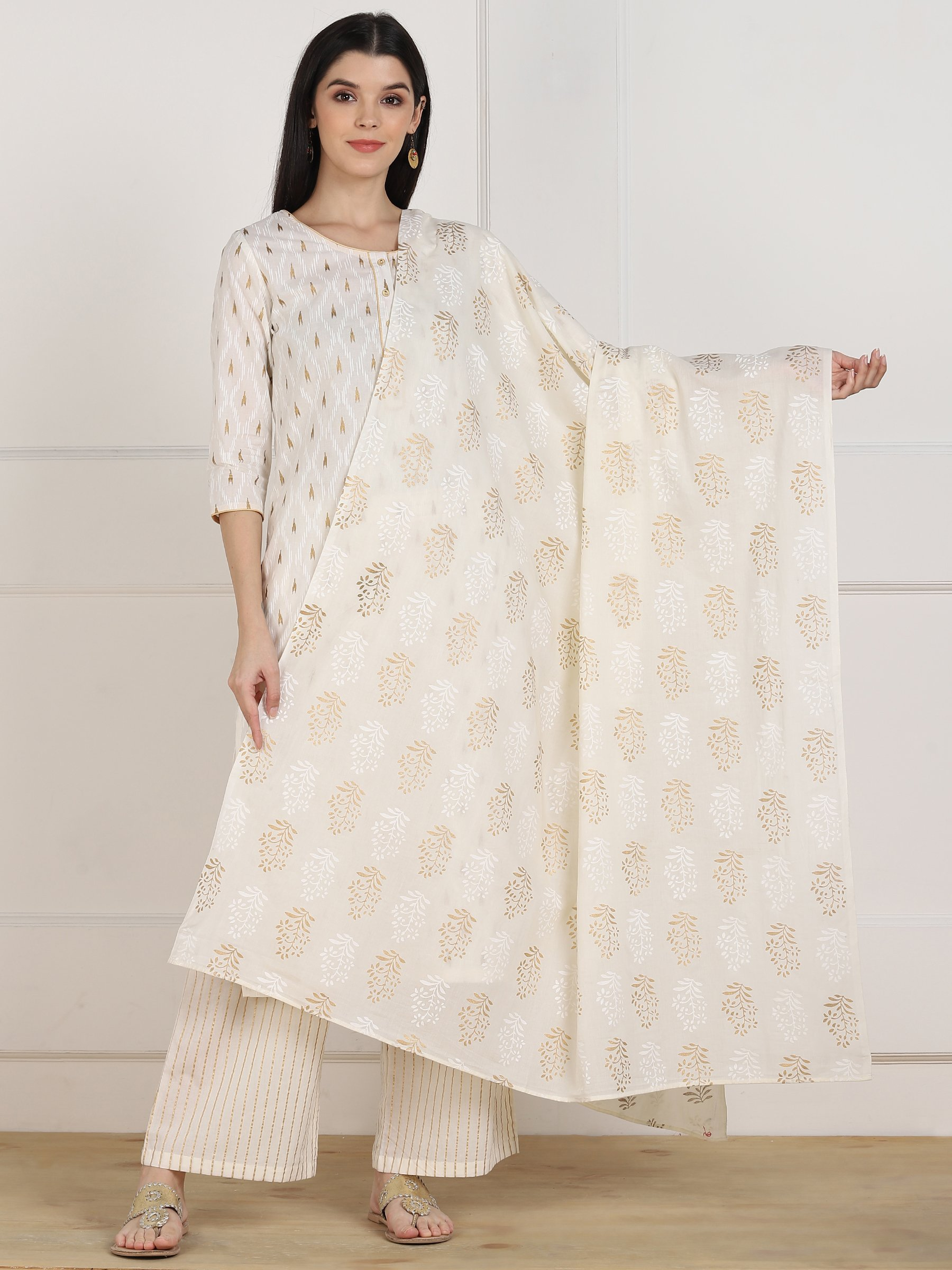 ZNX CLOTHING |  Women White Printed Straight Kurta Palazzo & Dupatta Set
