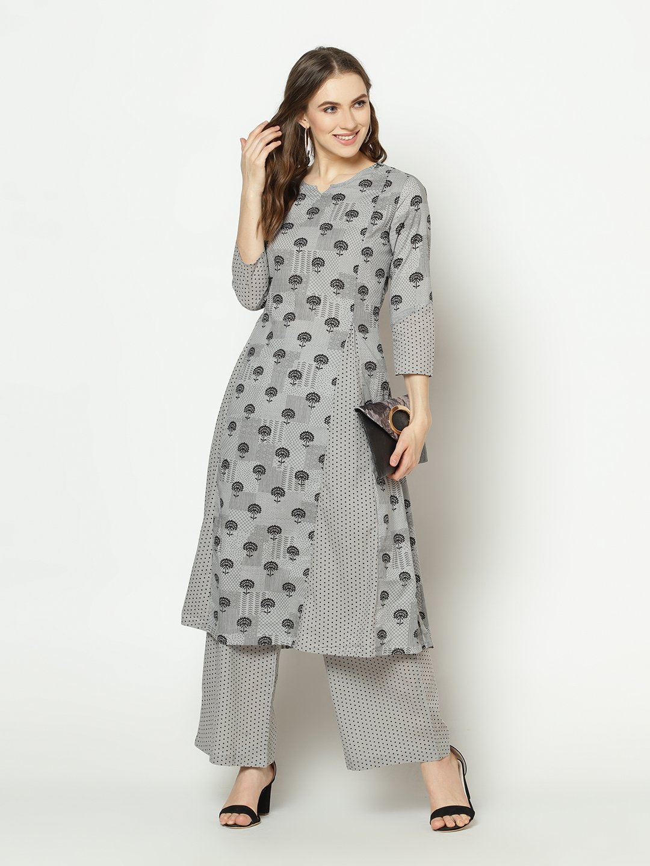 ZNX CLOTHING |  Women Grey Printed A-line Kurta with Palazzo Set