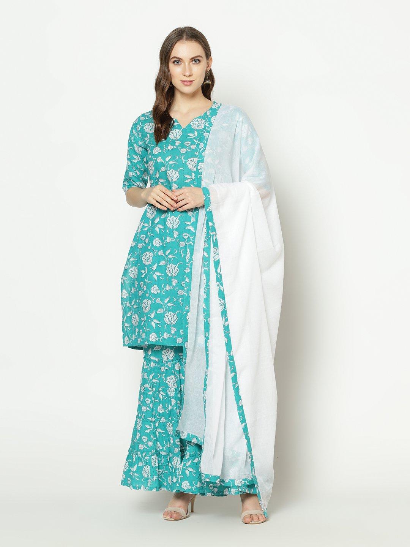 ZNX CLOTHING |  Women Torquisue Floral Printed Straight Kurta Sharara with Dupatta