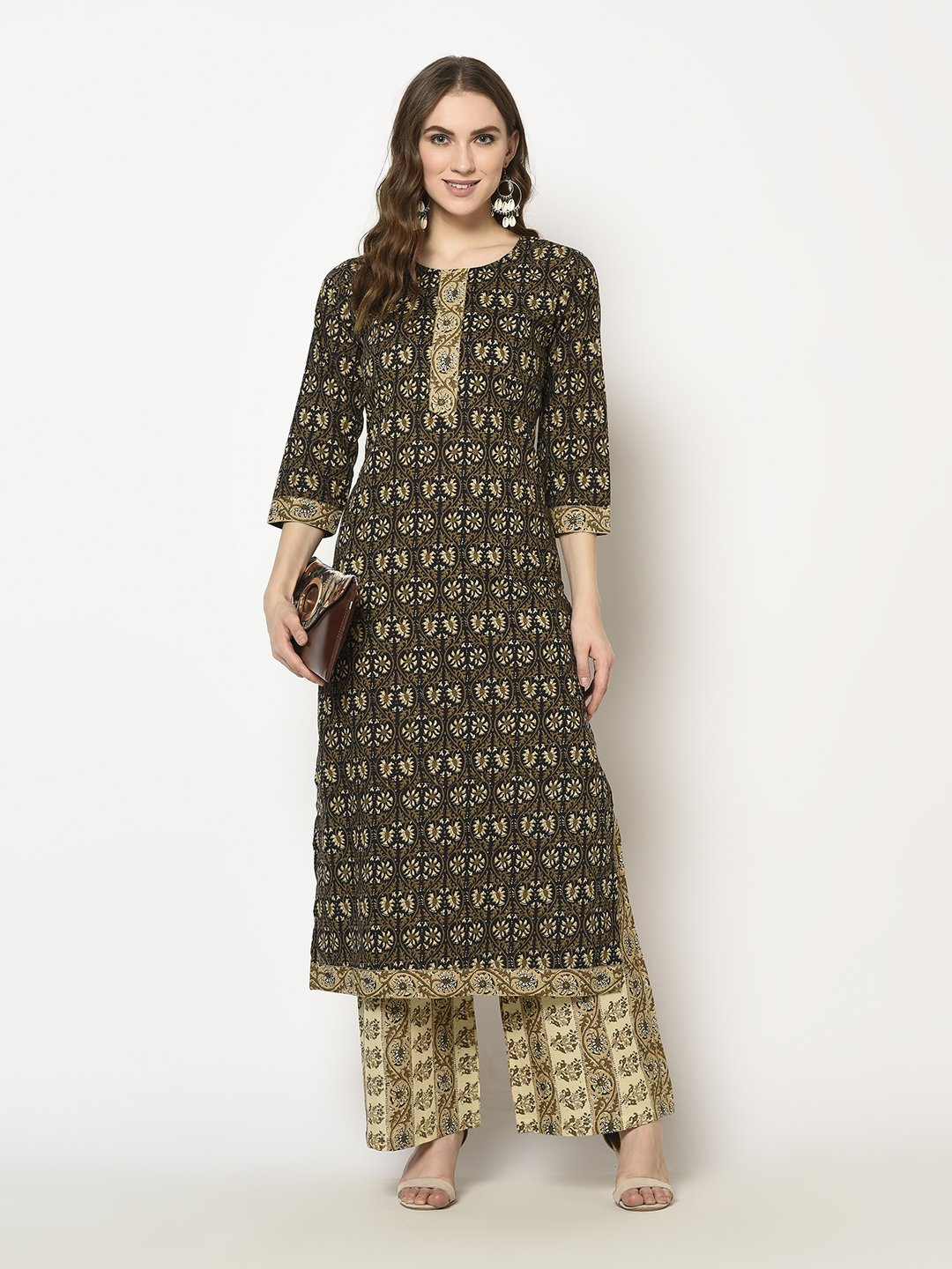 ZNX CLOTHING |  Women Brown Floral Printed Straight  Kurta with Palazzo Set