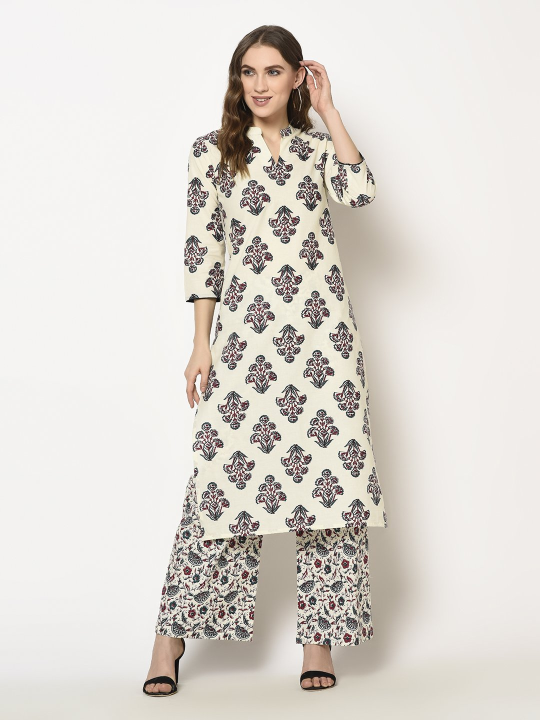 ZNX CLOTHING |  Women Off White Floral Printed Straight  Kurta with Palazzo Set