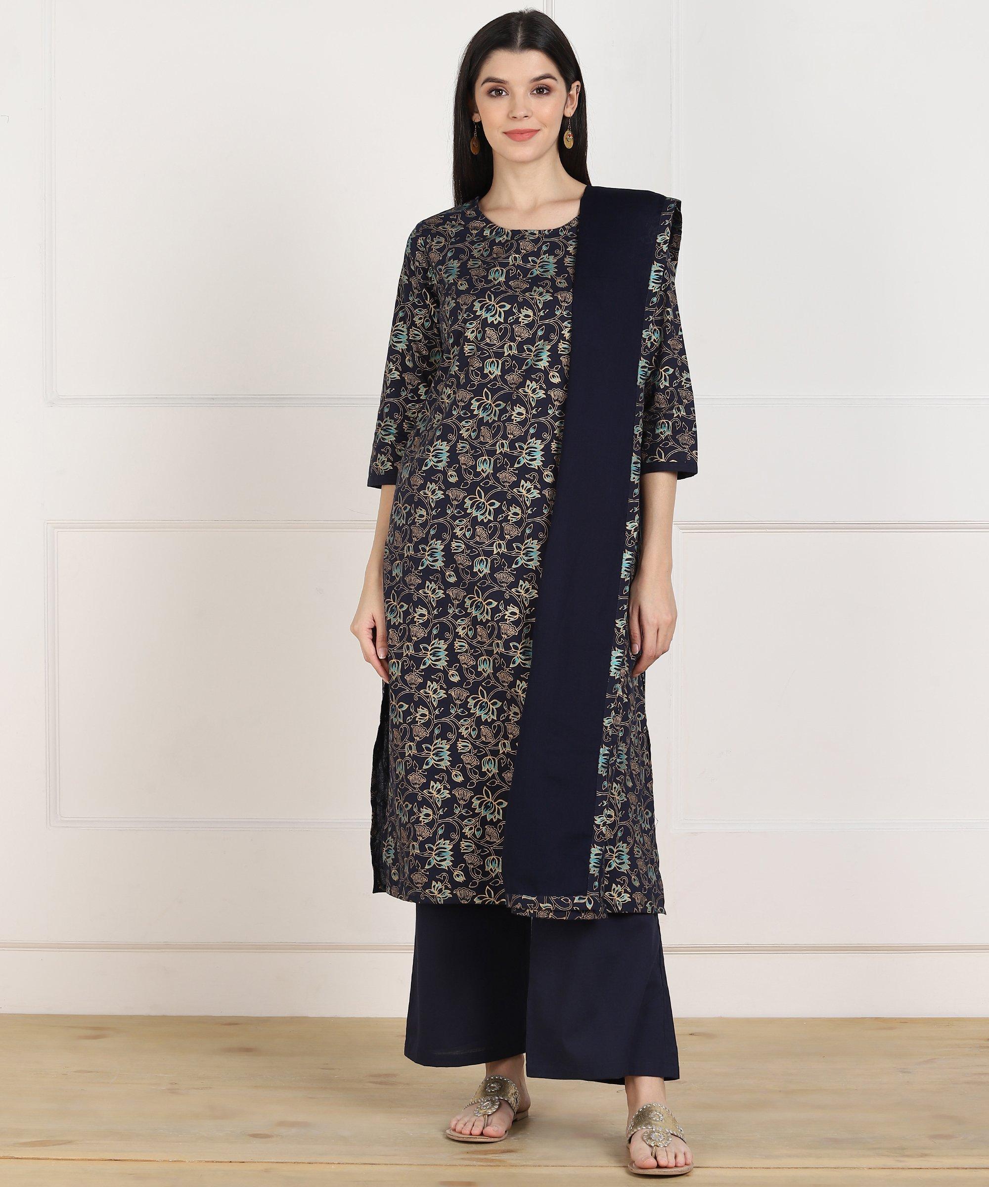 ZNX CLOTHING |  Women Blue Gold khadi Printed Straight Kurta Palazzo & Dupatta Set