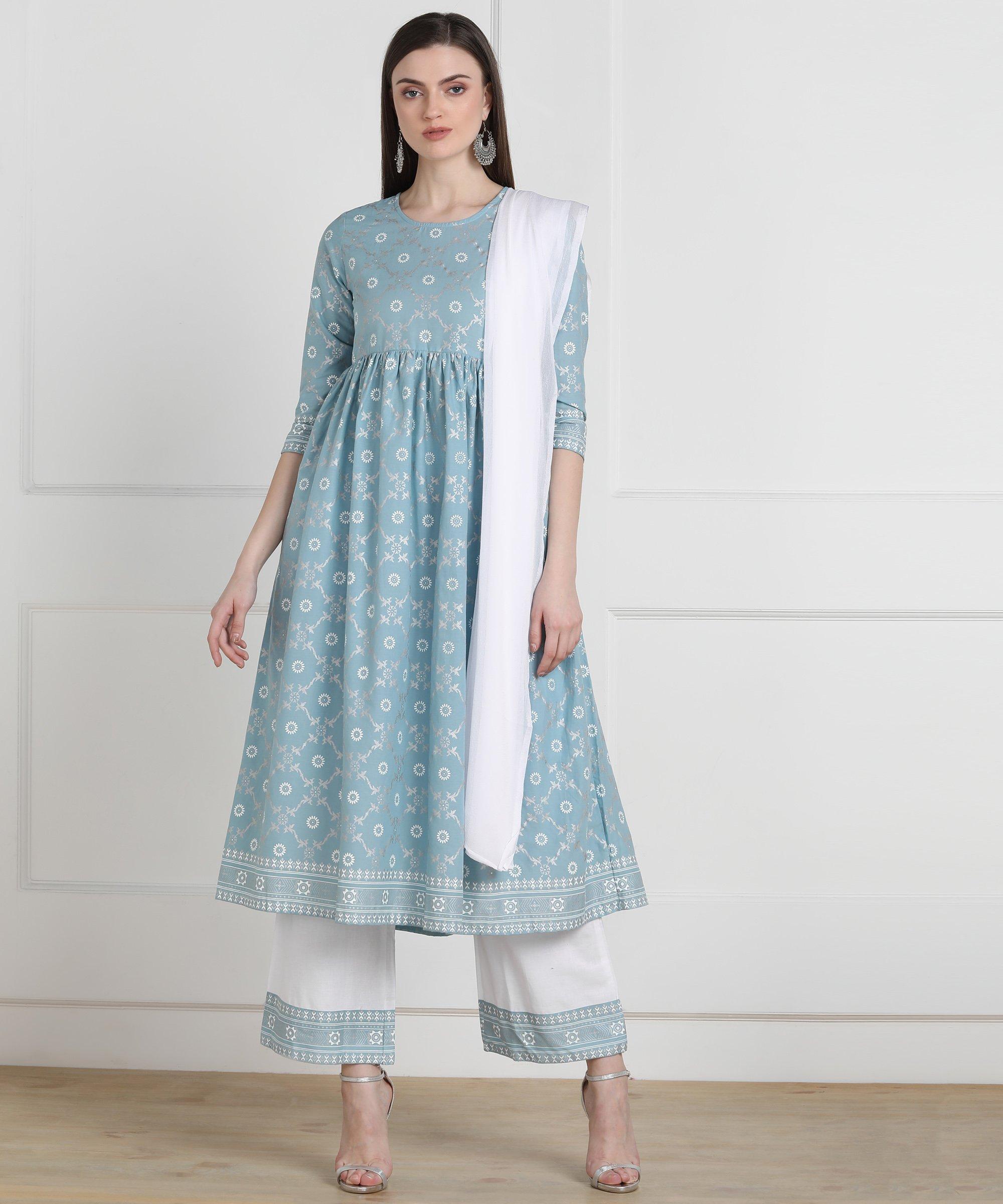 ZNX CLOTHING |  Women Sky Blue khadi Printed Straight Kurta Palazzo & Dupatta Set