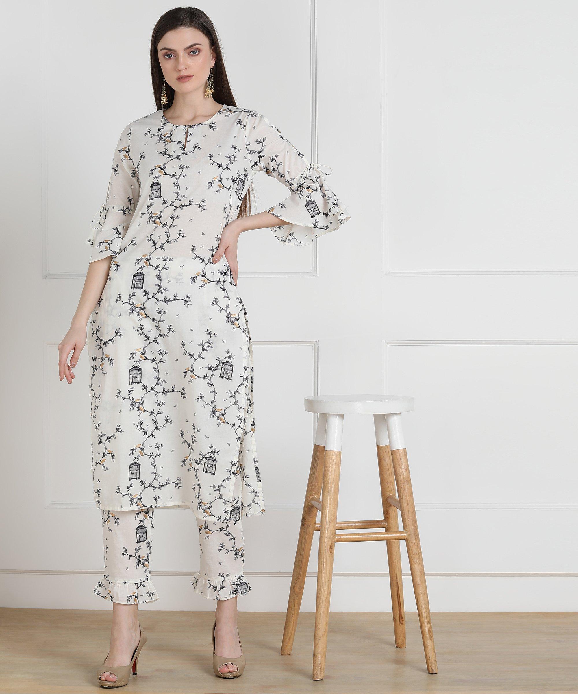 ZNX CLOTHING |  Women White Printed Straight Kurta with Palazzo Set