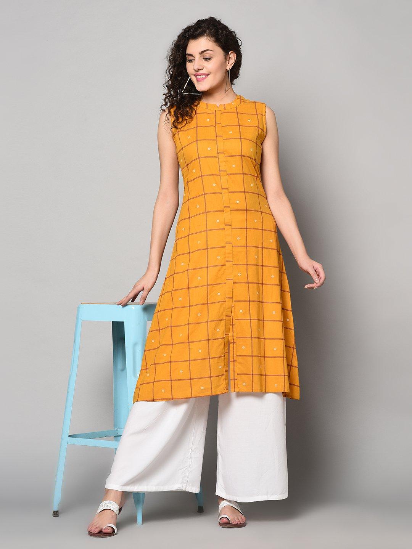 ZNX CLOTHING |  Women Yellow Printed Flared Kurta
