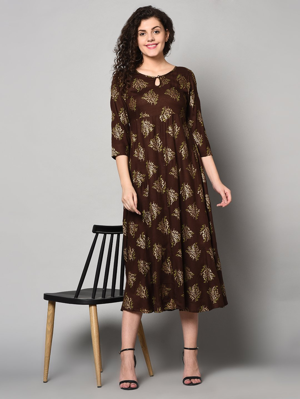 ZNX CLOTHING    Women Brown &Gold Printed Straight Kurta