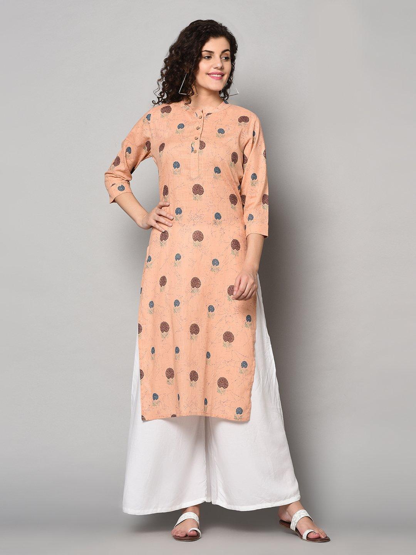 ZNX CLOTHING |  Women Pink & Brown Printed Straight Kurta