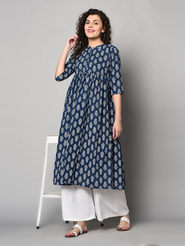 ZNX CLOTHING    Women Indigo & White Printed Flared Kurta