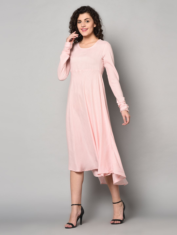 ZNX CLOTHING |  Women Solid Pink Ankle Length Kurta