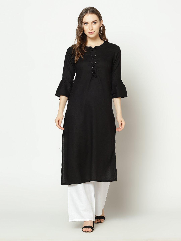 ZNX CLOTHING |  Women Solid Black Ankle Length Kurta