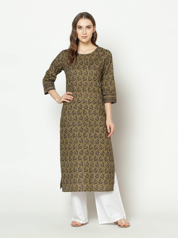ZNX CLOTHING |  Women Olive Green Floral Printed Straight Kurta