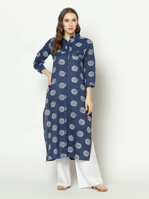 ZNX CLOTHING |  Women Blue Floral Printed  Straight Kurta