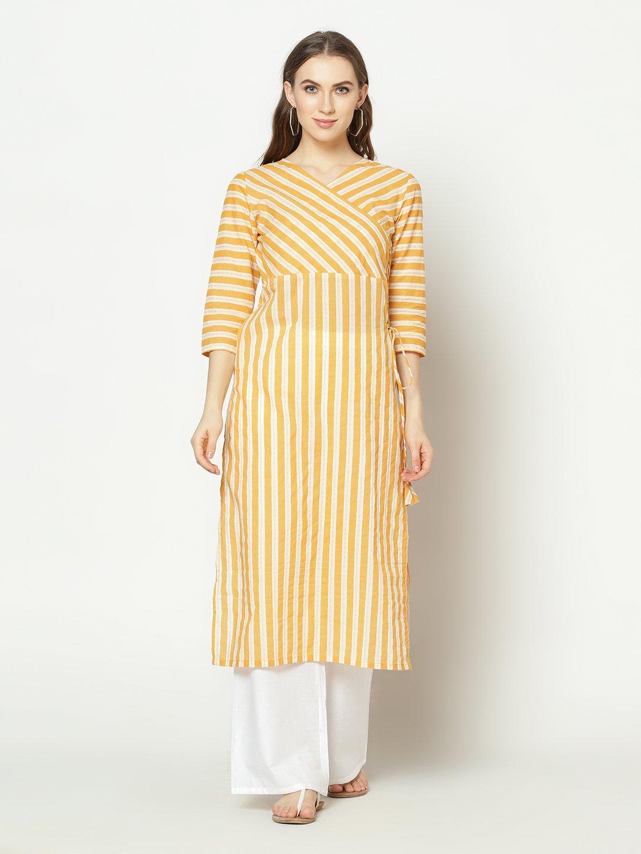 ZNX CLOTHING |  Women Yellow Stripe Printed  Straight Kurta