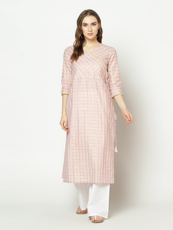 ZNX CLOTHING |  Women Pink Stripe Printed  Straight Kurta