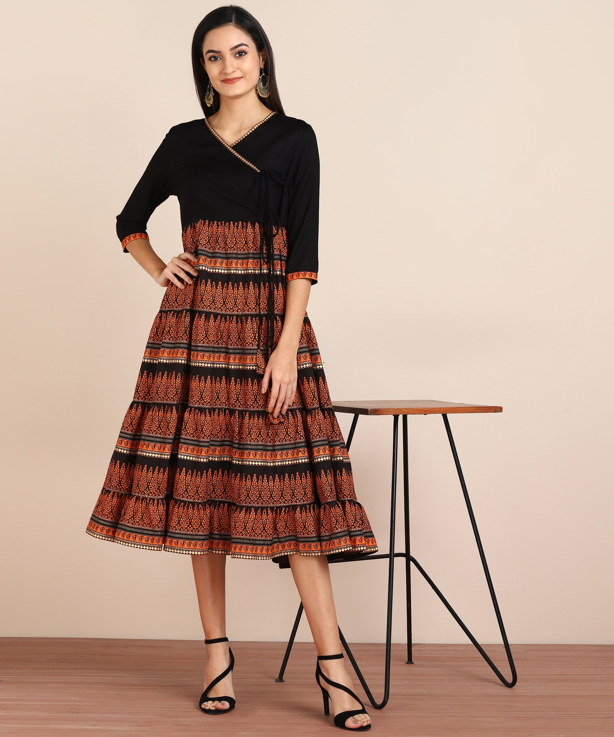 ZNX CLOTHING |  Women Black Geomectrical Printed Anarkali Kurta