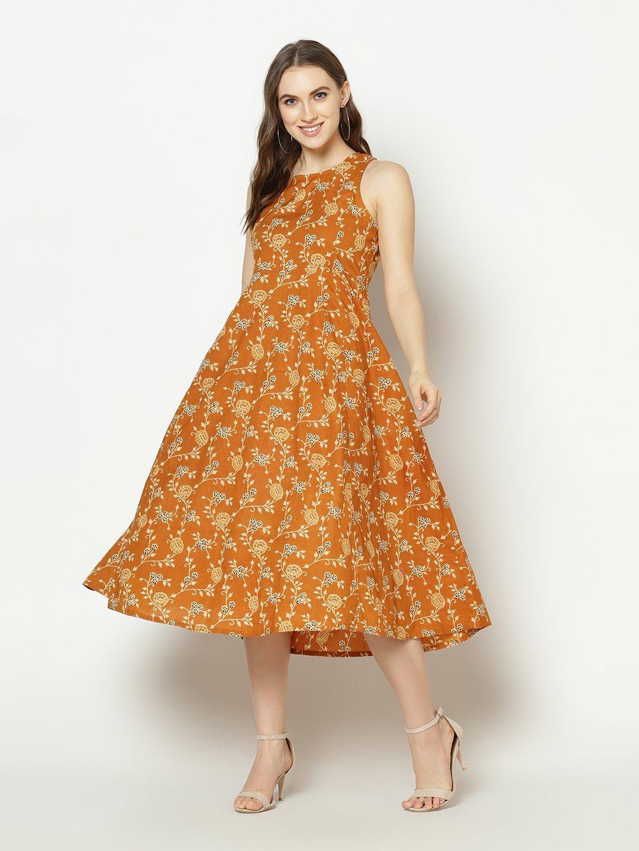 ZNX CLOTHING |  Women Mustard Floral Printed Anarkali  Kurta