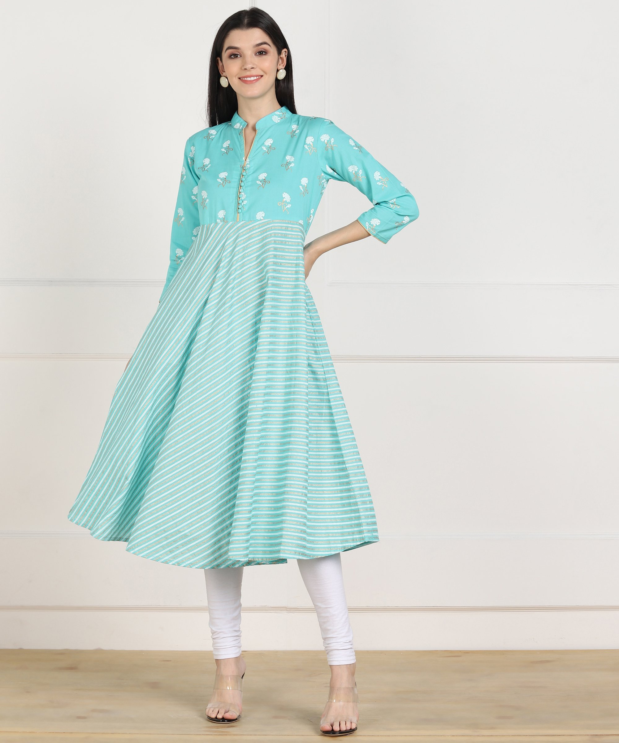 ZNX CLOTHING |  Women Blue Stripe Printed Flared Kurta