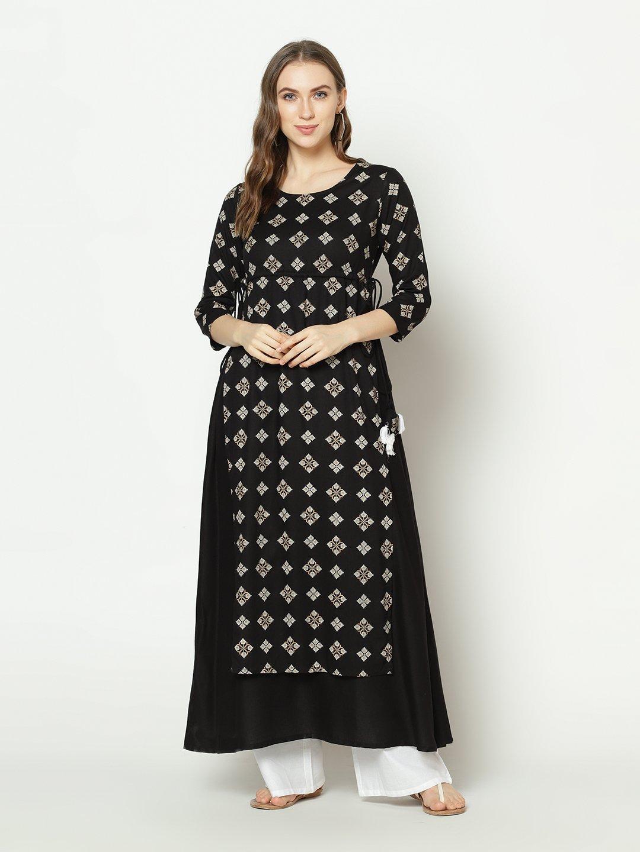 ZNX CLOTHING |  Women Black Geomectrical Printed A-line Kurta