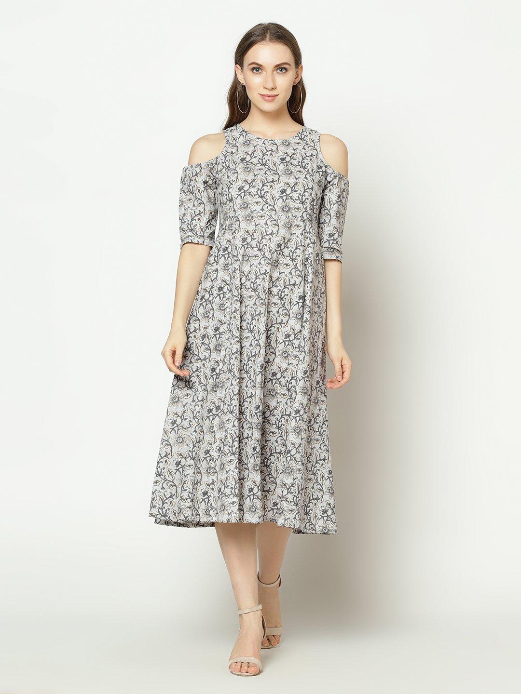 ZNX CLOTHING |  Women Grey Floral Printed Flared  Kurta