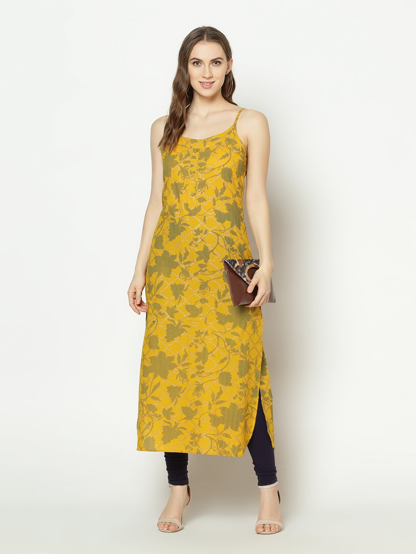 ZNX CLOTHING |  Women Yellow Floral Printed  Straight Kurta