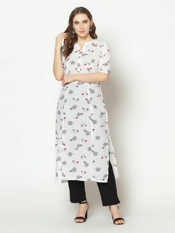 ZNX CLOTHING |  Women White Floral Printed  Straight Kurta