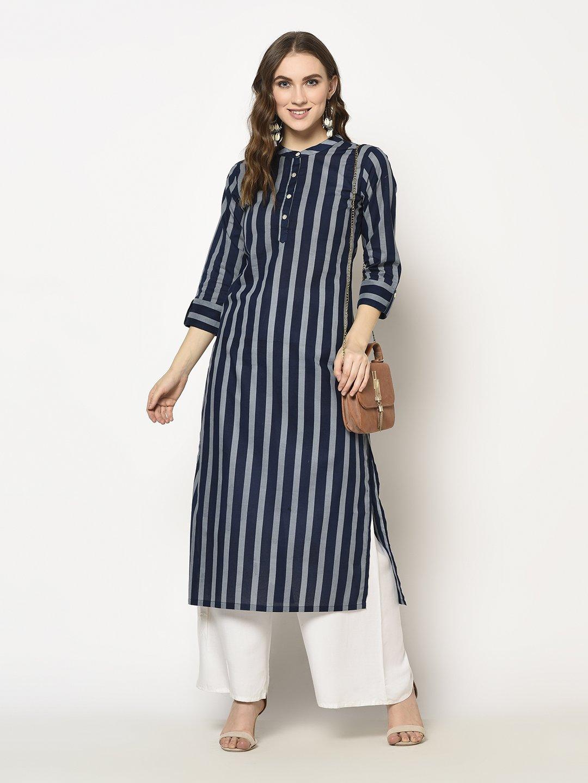 ZNX CLOTHING |  Women Blue Stripe Printed  Straight Kurta