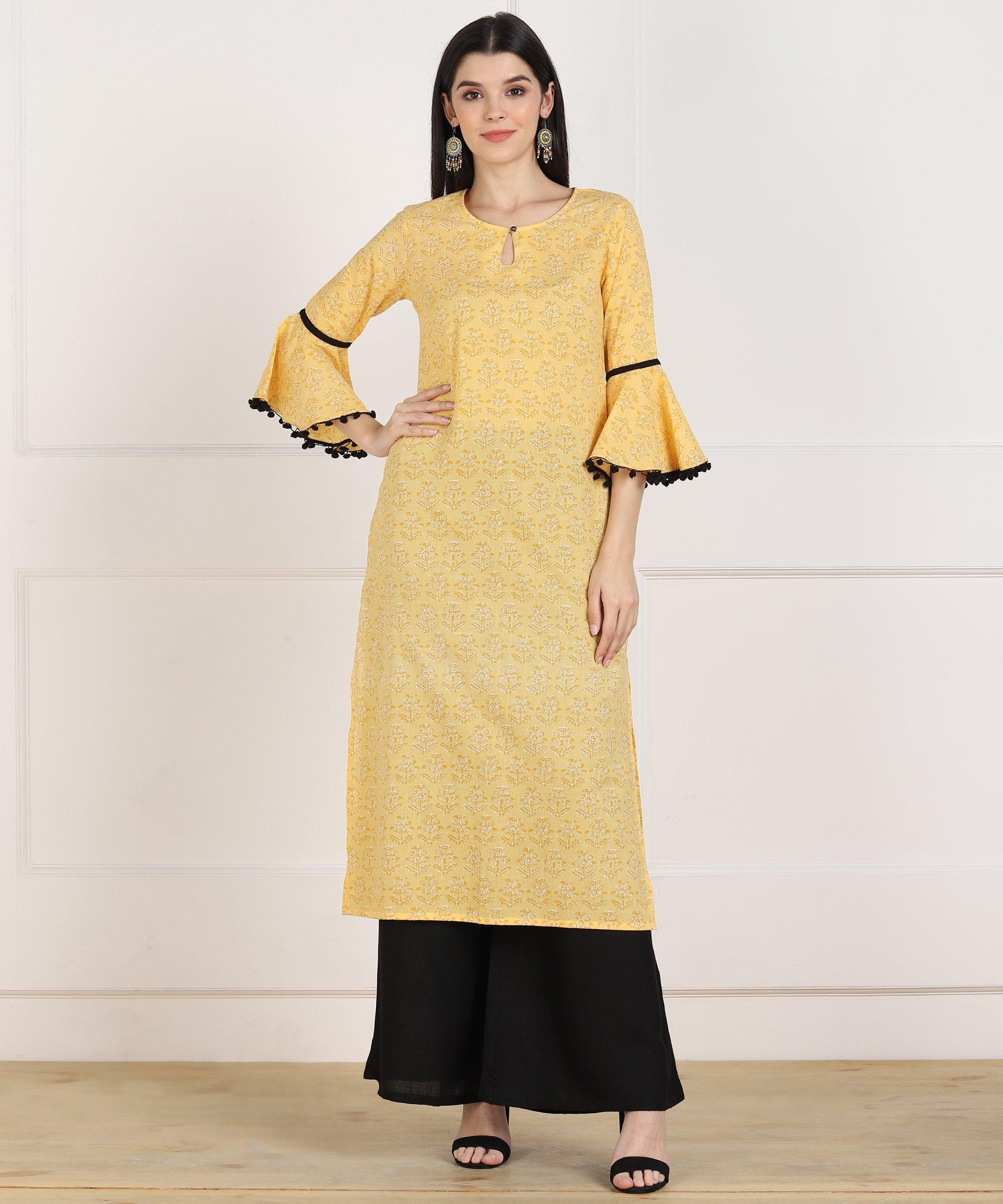 ZNX CLOTHING |  Women Yellow Printed Straight Kurta