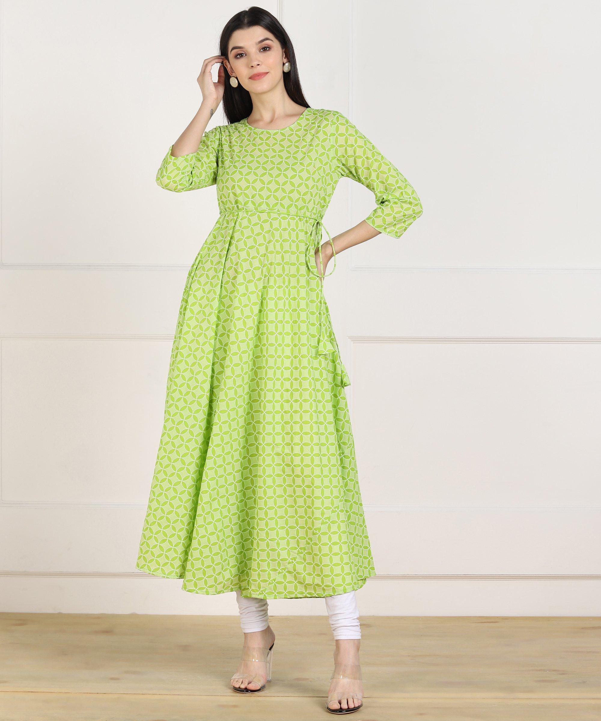 ZNX CLOTHING |  Women Green Anarkali Kurta