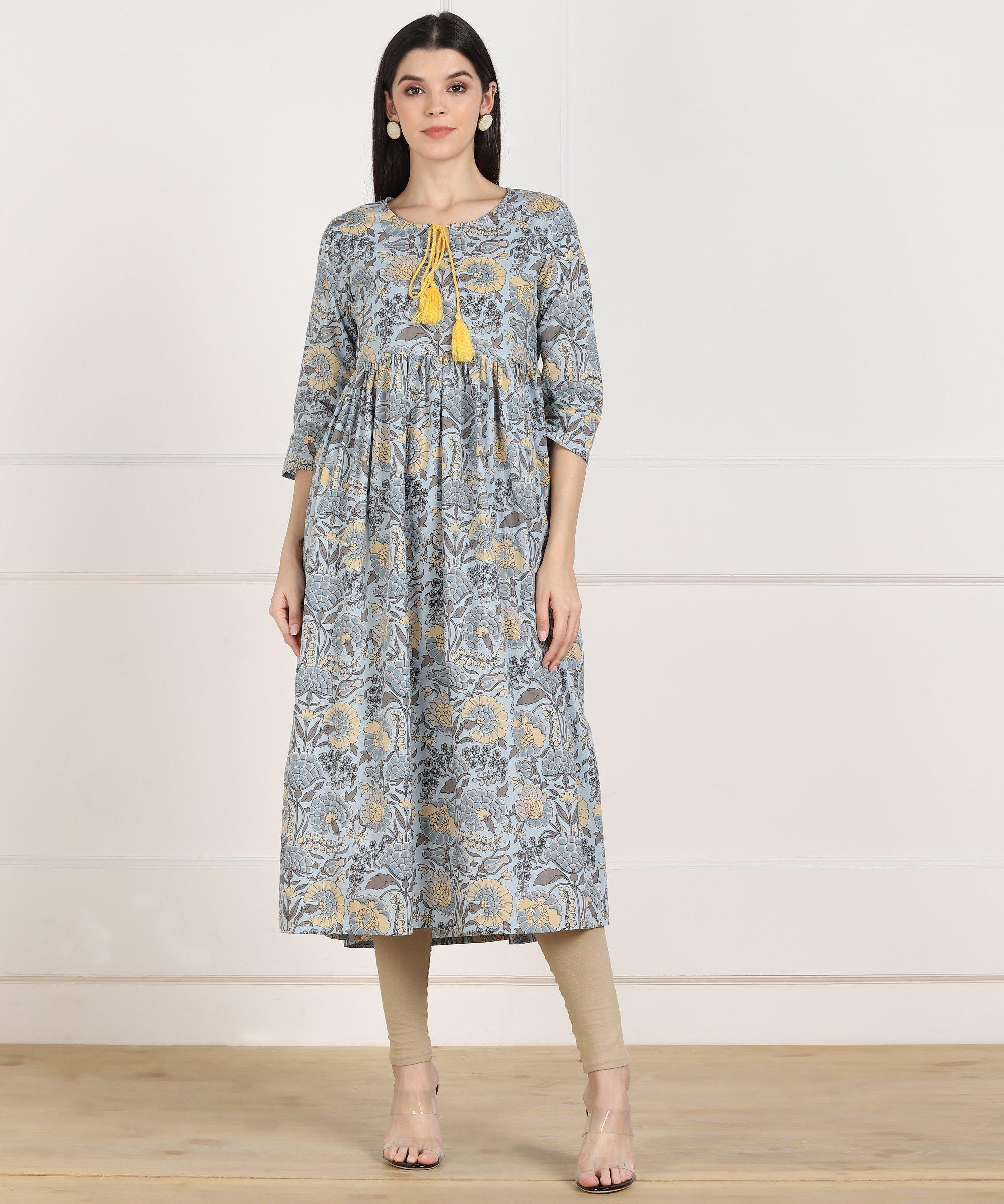 ZNX CLOTHING |  Women Multicolor Printed Flared Kurta