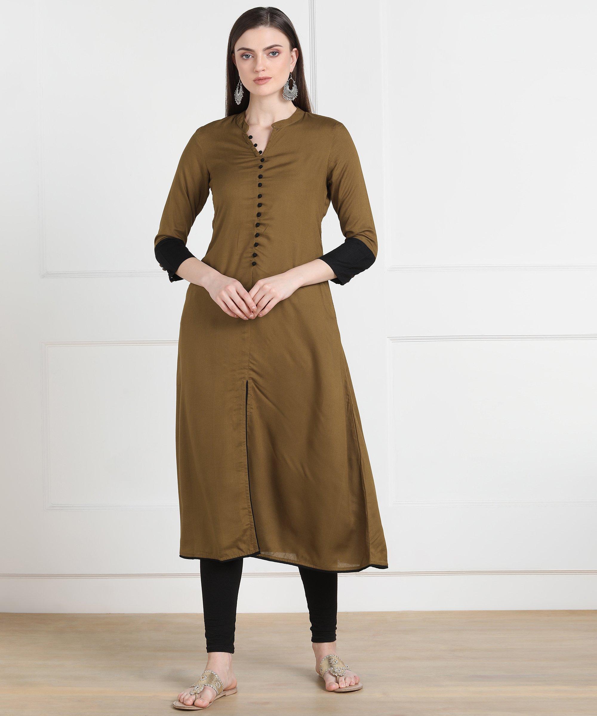 ZNX CLOTHING    Women Olive A-line Kurta With Front Slit