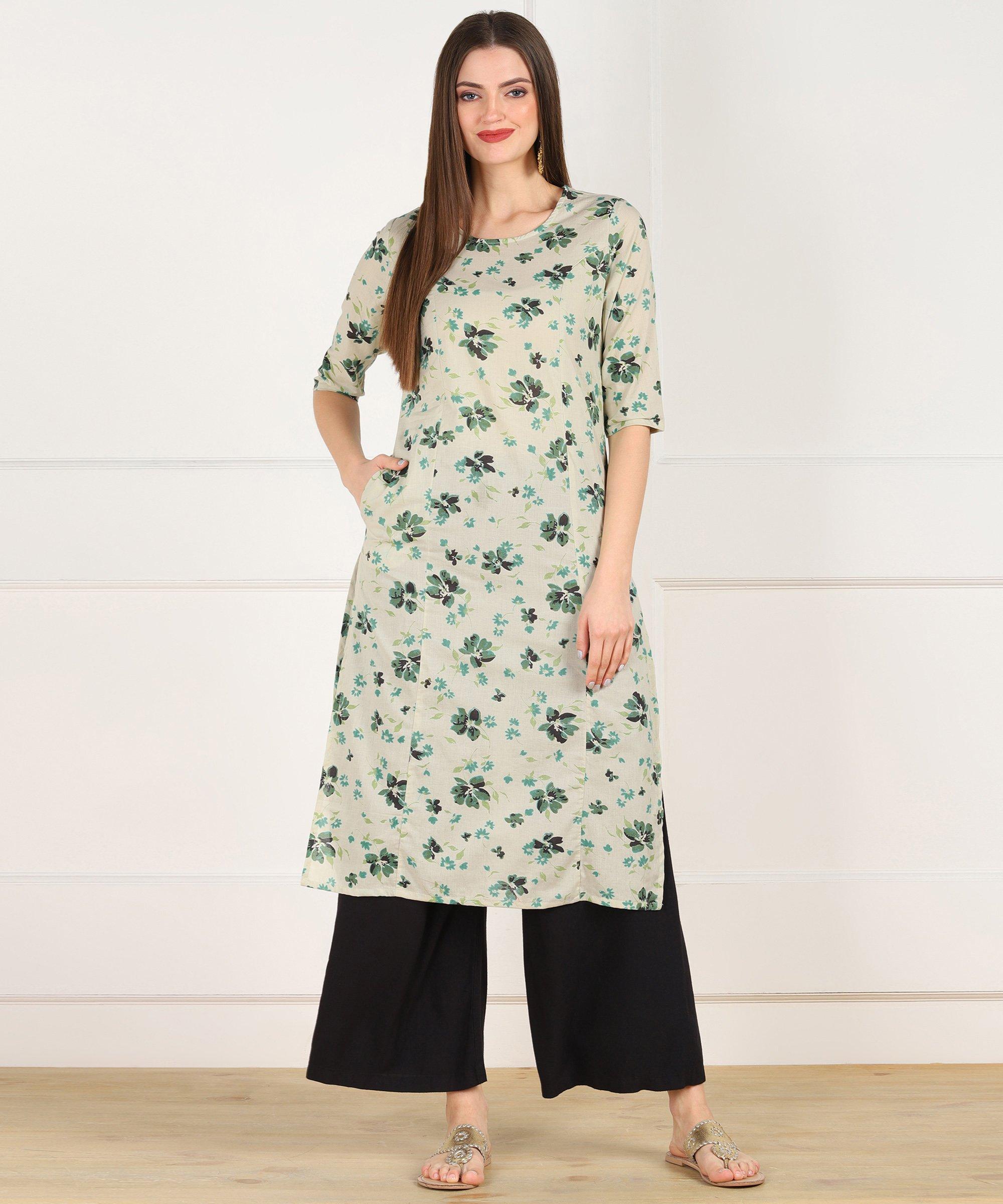 ZNX CLOTHING |  Women Light Green Floral Printed Straight Kurta