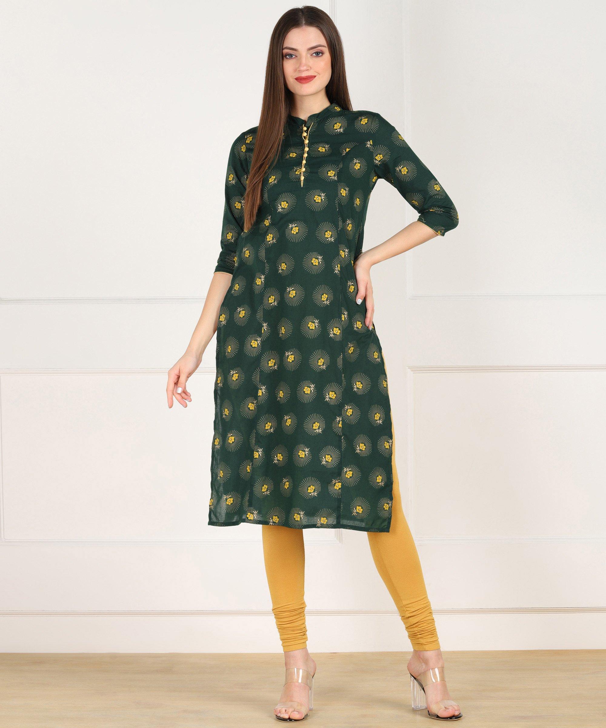 ZNX CLOTHING |  Women Green Gold Floral Printed Straight Kurta