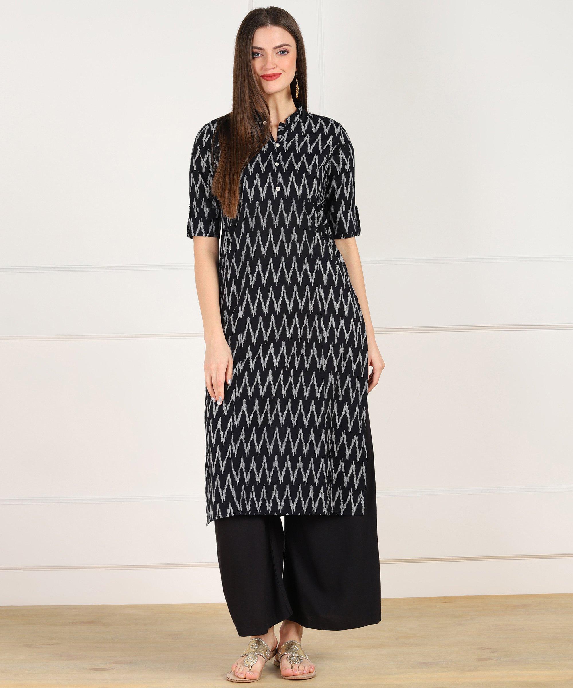 ZNX CLOTHING |  Women Black Zig Zag Printed Straight Kurta