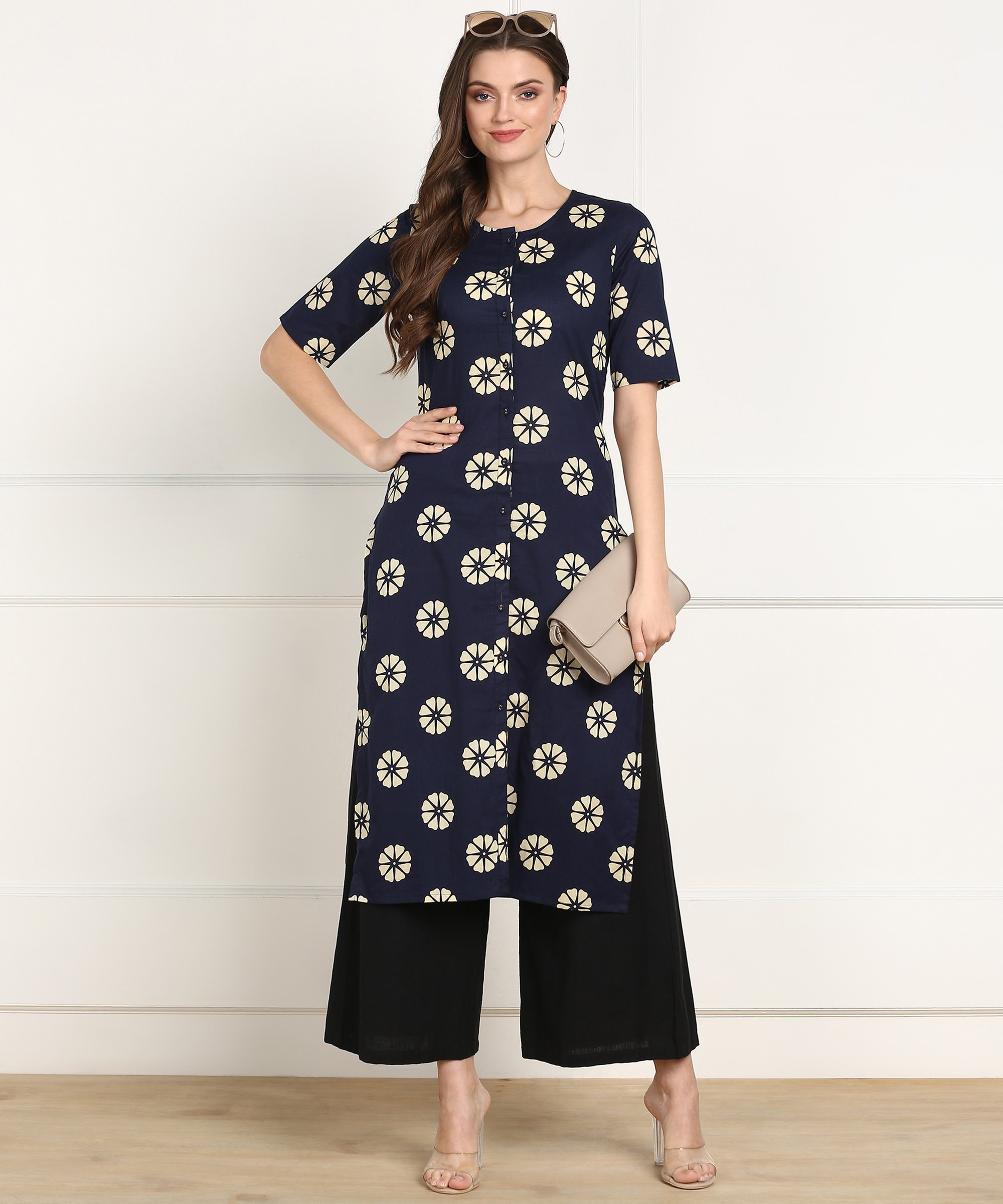 ZNX CLOTHING |  Women Blue  Floral Printed A-line Kurta