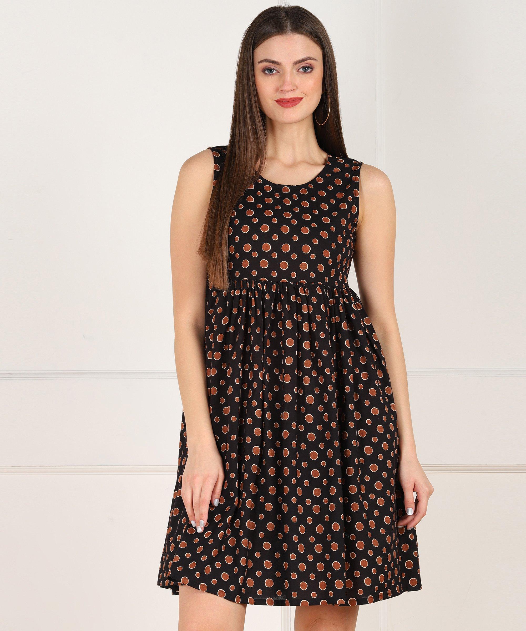 ZNX CLOTHING |  Women Brown Polka Printed Black Short Dress