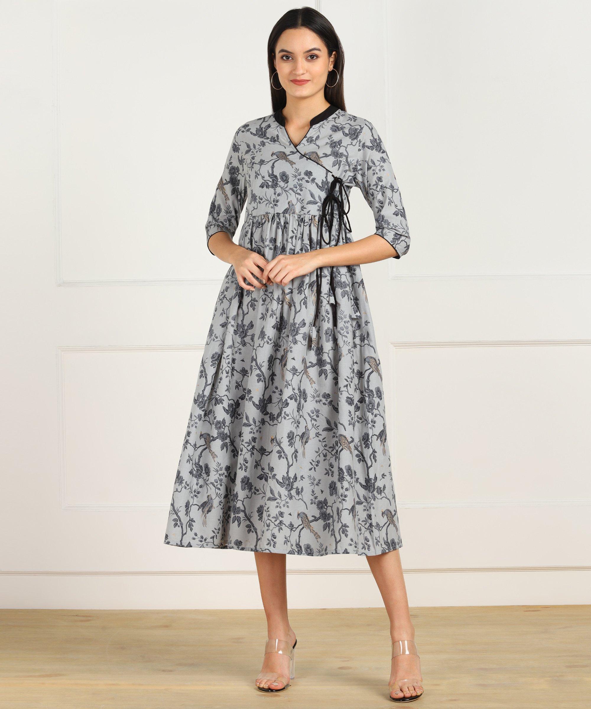 ZNX CLOTHING |  Grey Black Printed Flared Dress