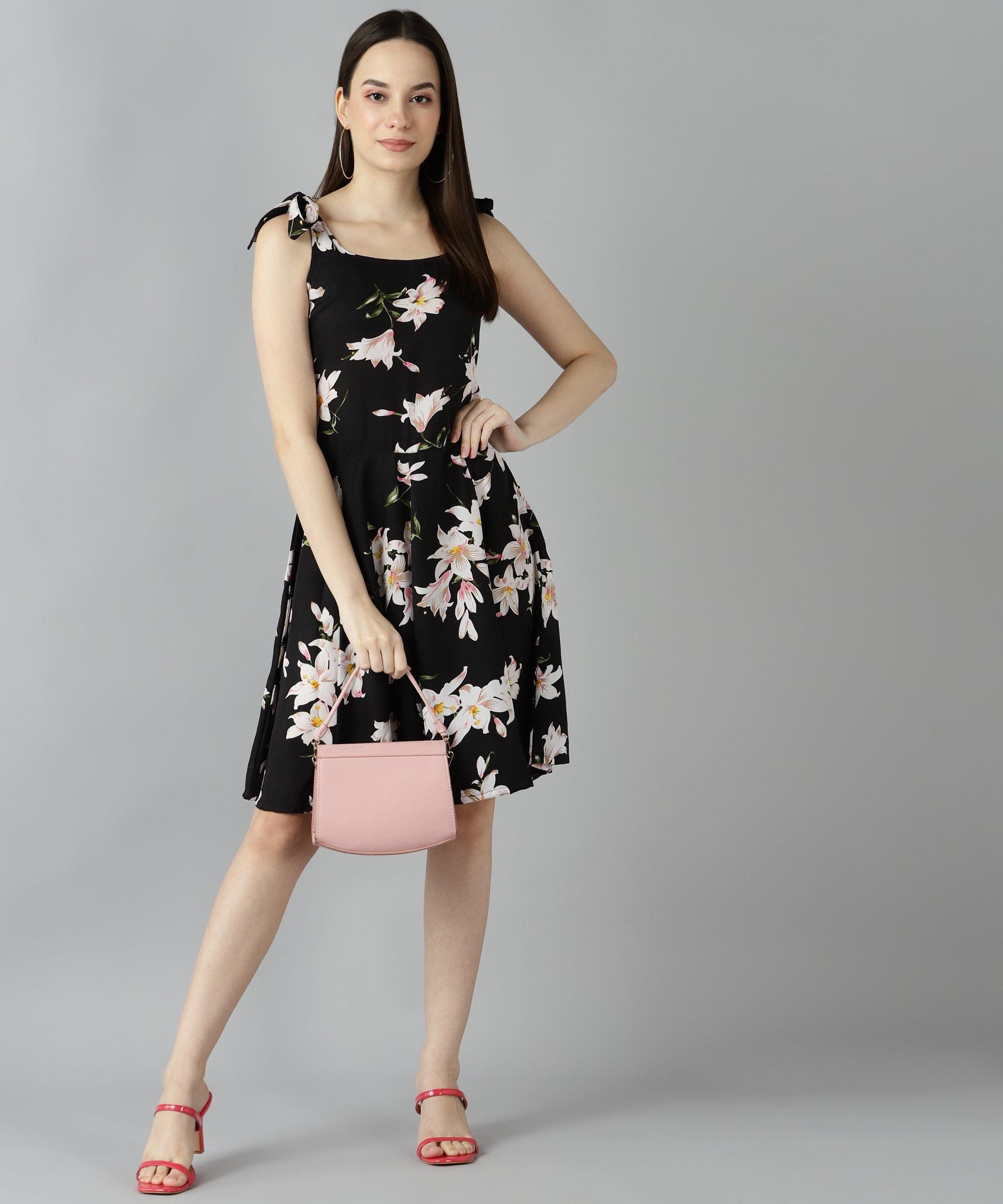 ZNX CLOTHING |  Women Floral Printed Black Tie Dress